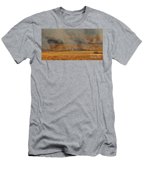 A Lone Firefighter On The Norbeck Prescribed Fire. Men's T-Shirt (Athletic Fit)