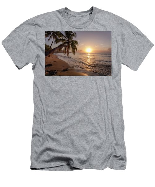 A Palm Tree Silhouette At Sunset  St Men's T-Shirt (Athletic Fit)
