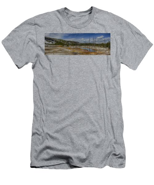 A Panoramic View Of  A Yellowstone Geyser Basin Men's T-Shirt (Athletic Fit)