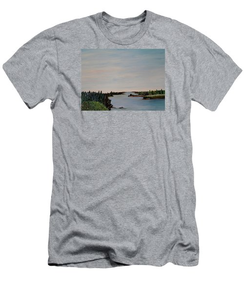 Men's T-Shirt (Slim Fit) featuring the painting A River Shoreline by Marilyn  McNish
