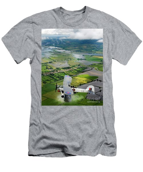 Men's T-Shirt (Slim Fit) featuring the photograph A Swordfish Aircraft With The Royal Navy Historic Flight. by Paul Fearn