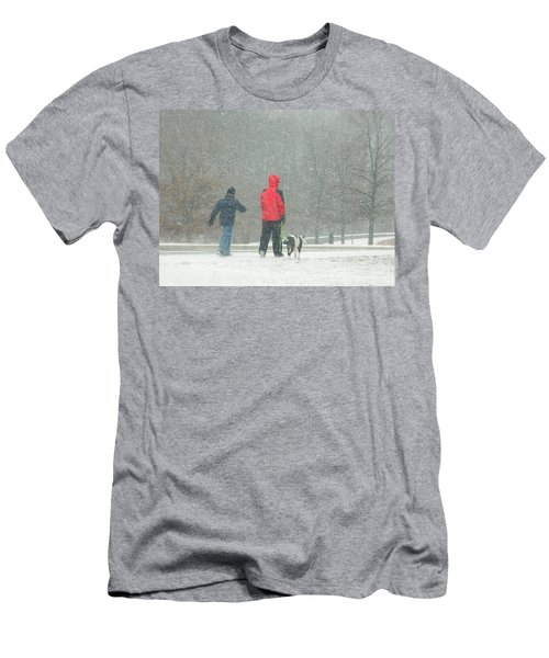 Men's T-Shirt (Slim Fit) featuring the photograph A Winter Walk In The Park - Silver Spring Md by Emmy Marie Vickers