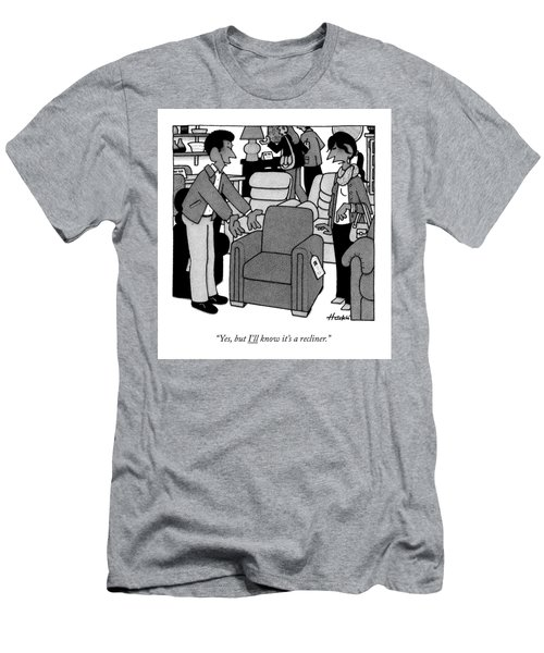A Woman Looks At A Recliner Chair At A Store Men's T-Shirt (Athletic Fit)