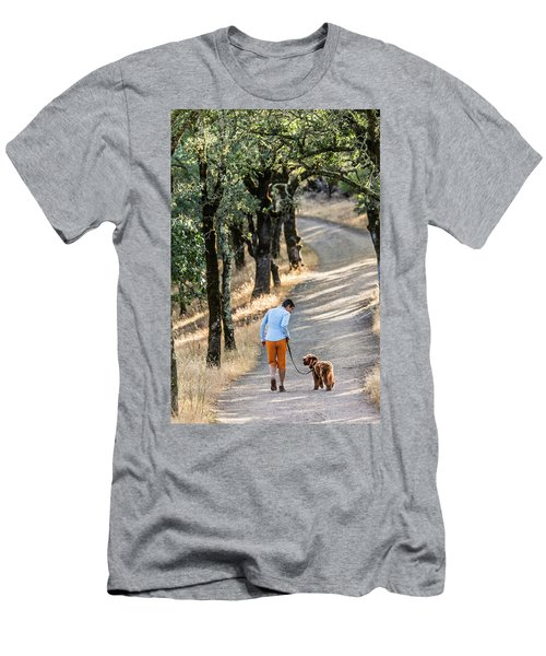 A Woman Takes Her Dog For A Walk Men's T-Shirt (Athletic Fit)