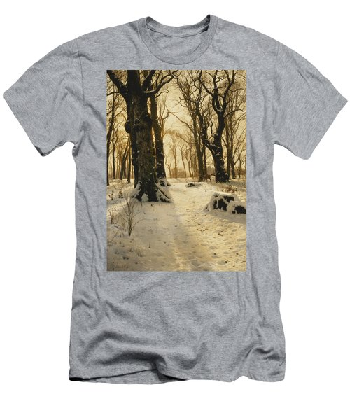 A Wooded Winter Landscape With Deer Men's T-Shirt (Athletic Fit)
