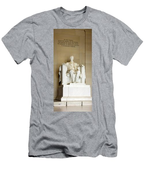 Abraham Lincolns Statue In A Memorial Men's T-Shirt (Slim Fit) by Panoramic Images