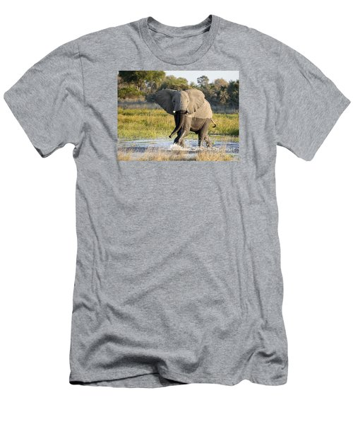 Men's T-Shirt (Slim Fit) featuring the photograph African Elephant Mock-charging by Liz Leyden