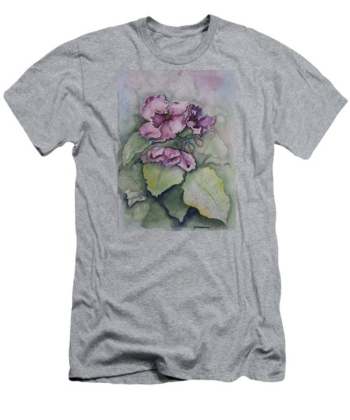 Men's T-Shirt (Slim Fit) featuring the painting African Violets by Rebecca Matthews