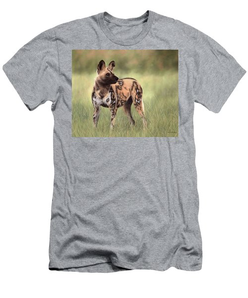 African Wild Dog Painting Men's T-Shirt (Athletic Fit)