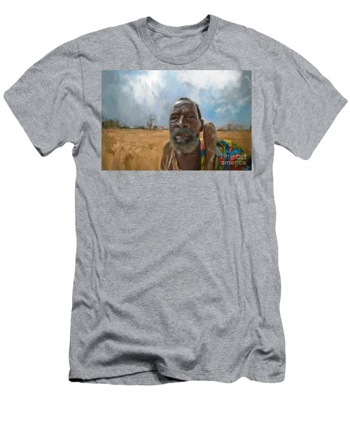 Men's T-Shirt (Slim Fit) featuring the mixed media Afrikan Bushman by Vannetta Ferguson