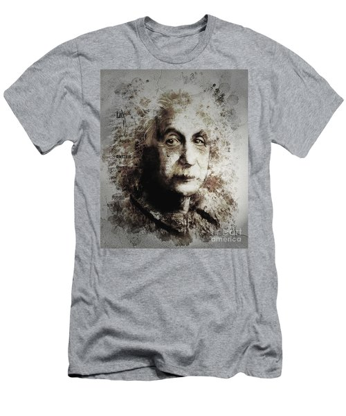 Men's T-Shirt (Slim Fit) featuring the painting Albert Einstein by Shanina Conway