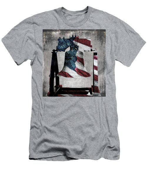 All American Liberty Bell Art_denim Men's T-Shirt (Slim Fit) by Lesa Fine