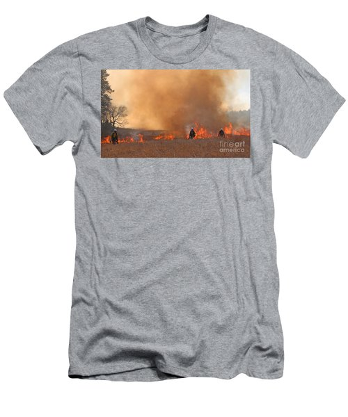 Alpine Hotshots Ignite The Norbeck Prescribed Fire. Men's T-Shirt (Athletic Fit)
