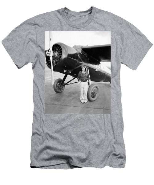 Amelia Earhart And Her Plane Men's T-Shirt (Athletic Fit)