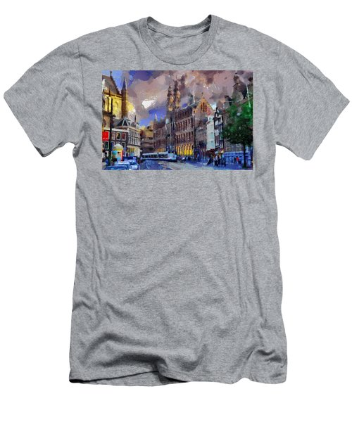 Men's T-Shirt (Slim Fit) featuring the painting Amsterdam Daily Life by Georgi Dimitrov