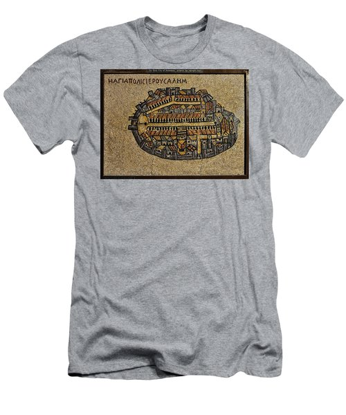 Ancient Jerusalem Mosaic Map Color Framed Men's T-Shirt (Athletic Fit)