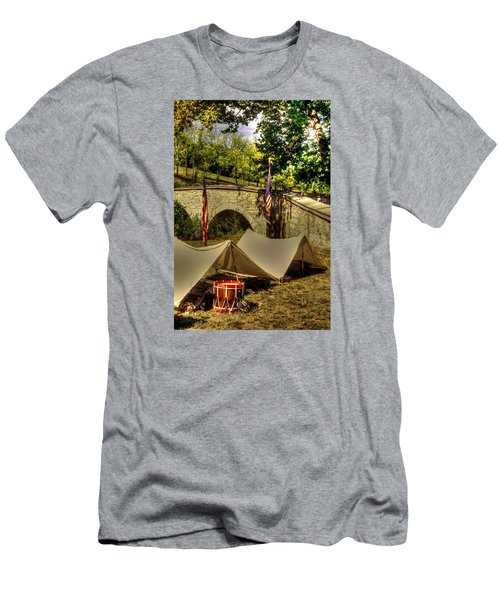Men's T-Shirt (Slim Fit) featuring the photograph Antietam - 8th Connecticut Volunteer Infantry-a1 Encampment Near The Foot Of Burnsides Bridge by Michael Mazaika