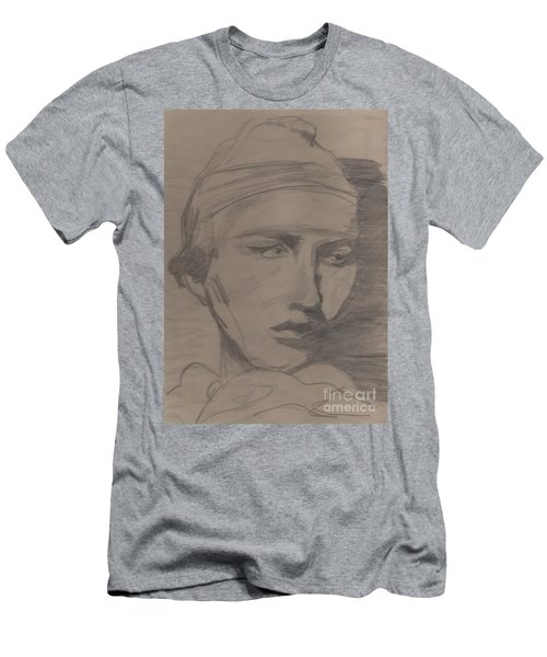 Men's T-Shirt (Slim Fit) featuring the drawing Antigone By Jrr by First Star Art