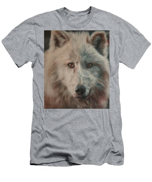 Men's T-Shirt (Slim Fit) featuring the painting Arctic Wolf by Cherise Foster