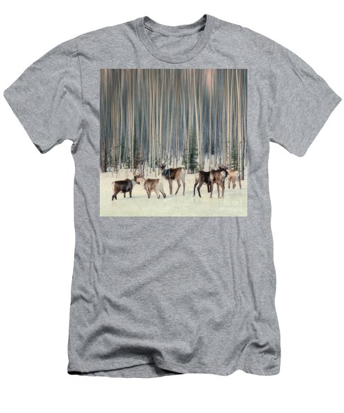 Caribou And Trees Men's T-Shirt (Athletic Fit)