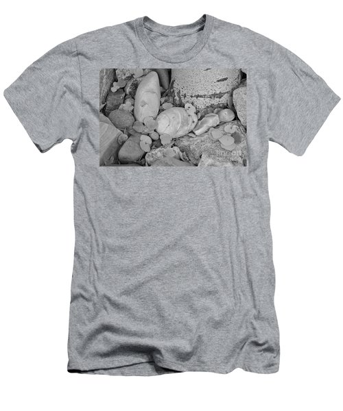 Men's T-Shirt (Athletic Fit) featuring the photograph Aspen Leaves On The Rocks - Black And White by Dorrene BrownButterfield