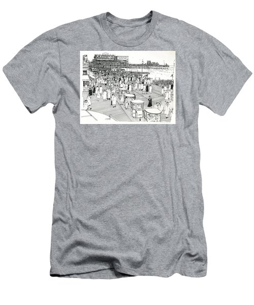 Men's T-Shirt (Slim Fit) featuring the drawing Atlantic City Boardwalk 1940 by Ira Shander