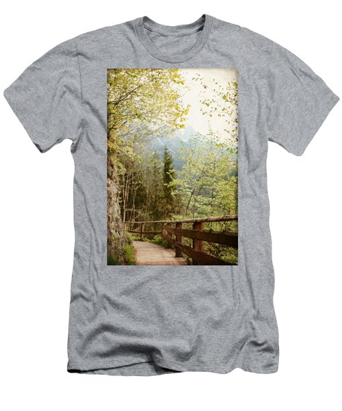 Austrian Woodland Trail And Mountain View Men's T-Shirt (Slim Fit) by Brooke T Ryan
