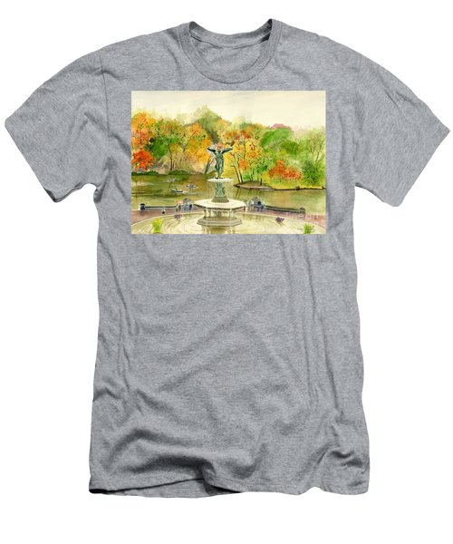 Autumn At Central Park Ny Men's T-Shirt (Slim Fit) by Melly Terpening