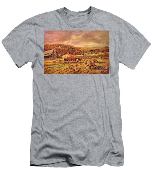 Autumn Folk Art - Haying Time Men's T-Shirt (Athletic Fit)