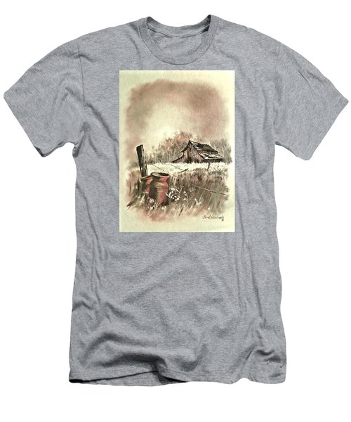 Men's T-Shirt (Slim Fit) featuring the painting Autumn In View At Mac Gregors Barn by Carol Wisniewski
