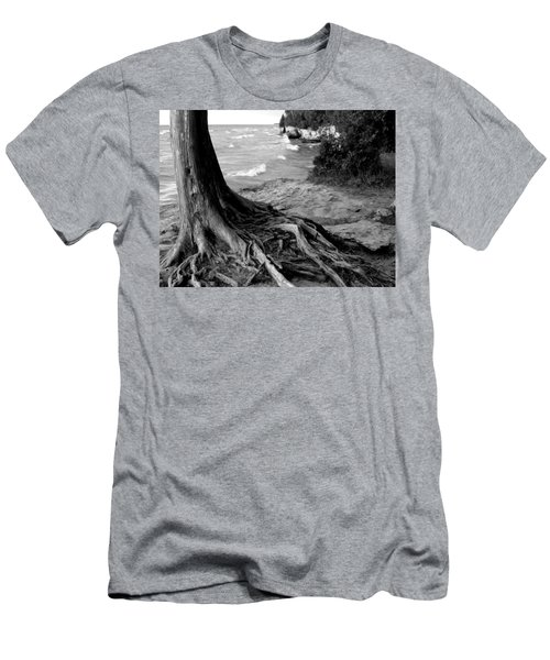 B And W Cedar Roots At Cave Point Men's T-Shirt (Athletic Fit)