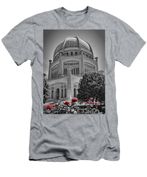 Bahai Temple Wilmette In Black And White Men's T-Shirt (Athletic Fit)