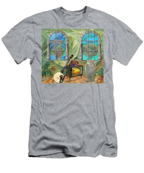 Men's T-Shirt (Slim Fit) featuring the mixed media Banjo Room by Ally  White