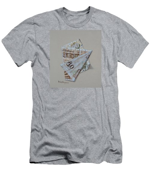 Men's T-Shirt (Slim Fit) featuring the painting Bank Of Ireland Ten Pound Banknote by Barry Williamson