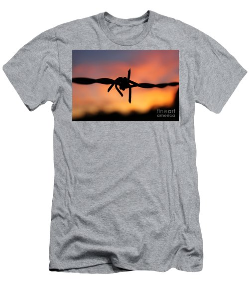 Men's T-Shirt (Slim Fit) featuring the photograph Barbed Silhouette by Vicki Spindler