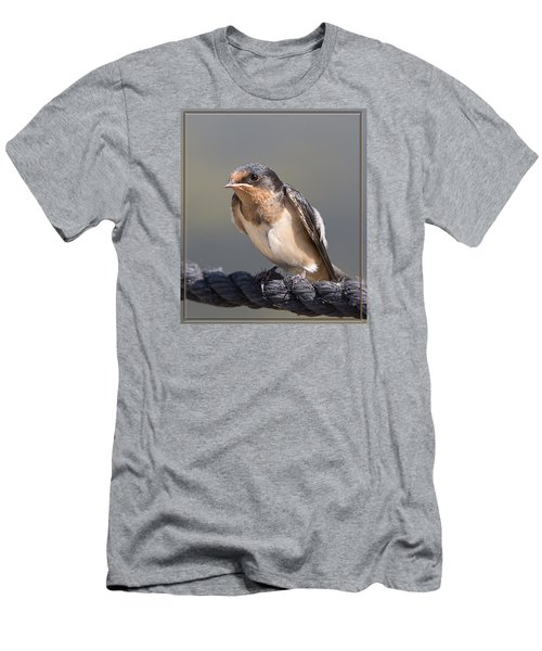 Men's T-Shirt (Slim Fit) featuring the photograph Barn Swallow On Rope I by Patti Deters
