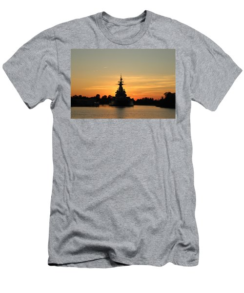 Men's T-Shirt (Slim Fit) featuring the photograph Battleship At Sunset by Cynthia Guinn