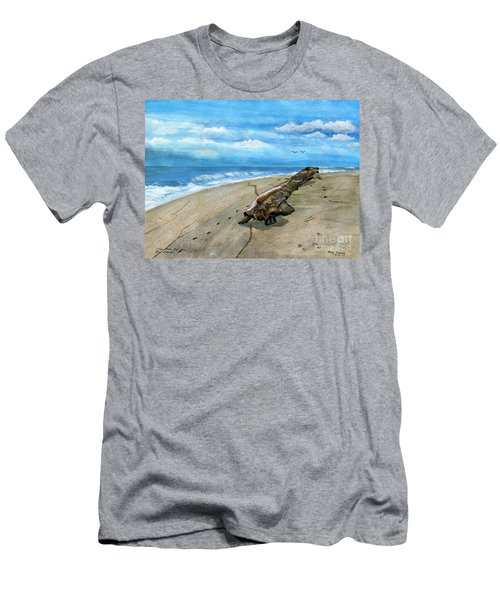 Men's T-Shirt (Slim Fit) featuring the painting Beach Drift Wood by Melly Terpening