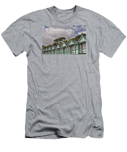 Beach Huts Langland Bay Swansea 3 Men's T-Shirt (Slim Fit) by Steve Purnell