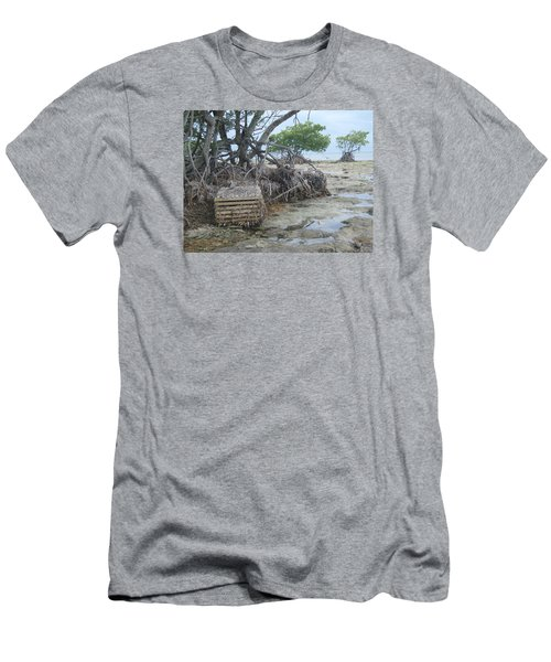 Men's T-Shirt (Slim Fit) featuring the photograph Beached Lobster Trap by Robert Nickologianis