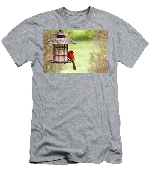 Men's T-Shirt (Slim Fit) featuring the photograph Beautiful Cardinal by Trina  Ansel