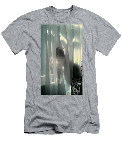Men's T-Shirt (Slim Fit) featuring the photograph Behind The Curtain by Jacqueline McReynolds
