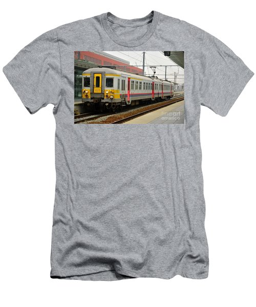 Belgium Railways Commuter Train At Brugge Railway Station Men's T-Shirt (Athletic Fit)