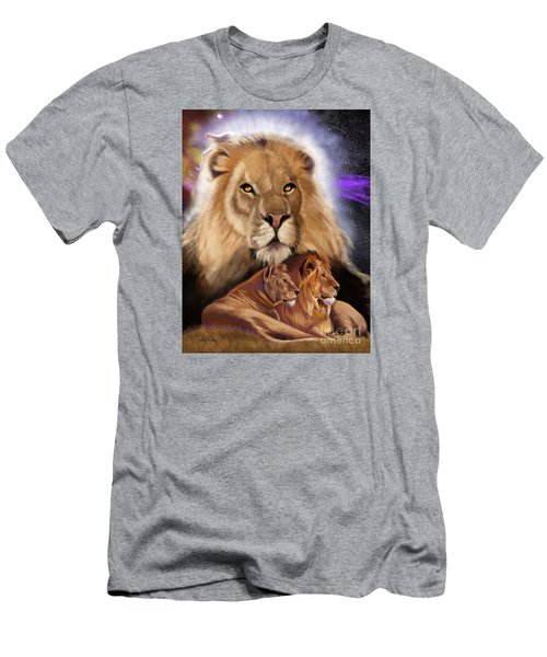 Men's T-Shirt (Athletic Fit) featuring the painting Third In The Big Cat Series - Lion by Thomas J Herring