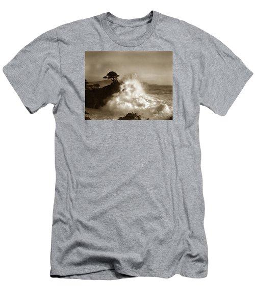 Big Wave Hitting The Lone Cypress Tree Pebble Beach California 1916 Men's T-Shirt (Slim Fit) by California Views Mr Pat Hathaway Archives