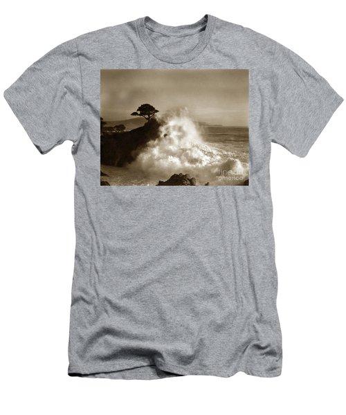 Big Wave Hitting The Lone Cypress Tree Pebble Beach California 1916 Men's T-Shirt (Athletic Fit)
