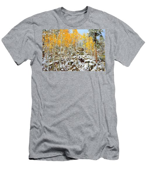 Men's T-Shirt (Slim Fit) featuring the photograph Black Hills Boulders by Clarice  Lakota
