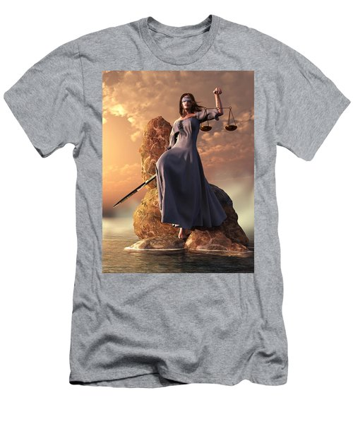 Blind Justice With Scales And Sword Men's T-Shirt (Athletic Fit)