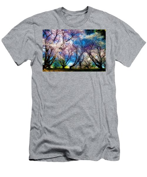 Blossom Cherry Trees Over Spring Sky Men's T-Shirt (Slim Fit) by Lanjee Chee