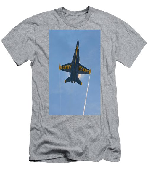 Blue Angels Ghost Appears Over Pensacola Beach Men's T-Shirt (Slim Fit) by Jeff at JSJ Photography